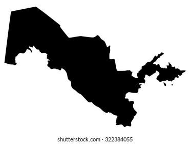 Silhouette map of Uzbekistan, Asia