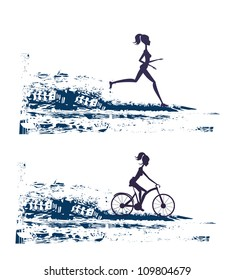 silhouette of marathon runner and cyclist race - abstract background