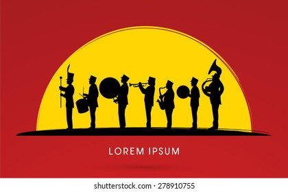 Silhouette Marching Band, parade, on sun set background ,graphic vector.