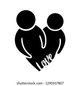 Silhouette of a married couple in love with a heart
