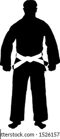 Silhouette of a martial art practitioner in uniform with white belt. Vector illustration.