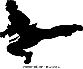 Silhouette of a martial art pugilist doing a flying-kick. Vector illustration.