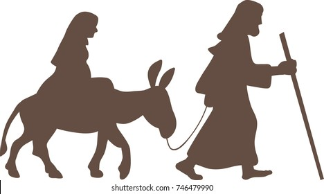 Silhouette of Mary and Joseph on a donkey