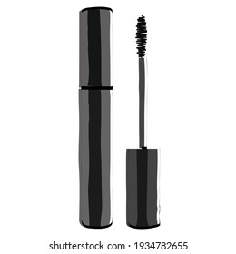 Silhouette of mascara. Makeup accessory. Vector illustration.