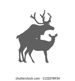 Silhouette of mating deers. Flat vector icon