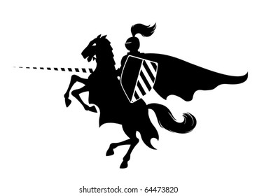 Silhouette of medieval knight on the horse