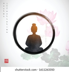 Silhouette of meditating Buddha in black enso zen circle with pink lotuses on background.