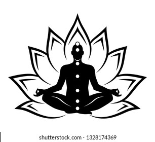 Silhouette of a meditating man sitting in a Lotus position. Black abstract silhouette isolated on white background.