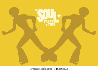 Silhouette of men dancing soul, funky or disco music. Retro Style.