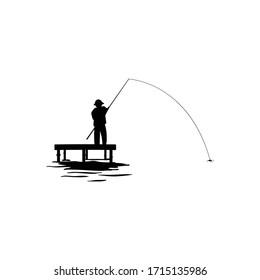 silhouette men fishing at river