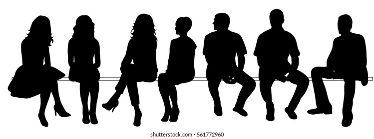 silhouette of men and women sitting set