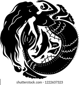 Silhouette mermaid with dolphin among waves. Isolated figure of girl from fairytale. Stylish icon