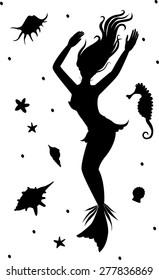 silhouette of mermaid, seahorse, shells, starfish