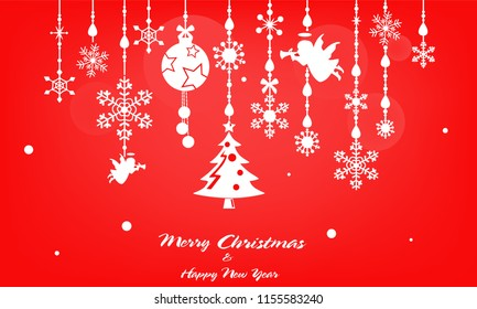 Silhouette Merry Christmas & Happy New Year theme on red background