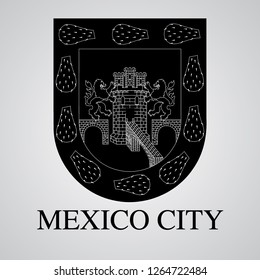 Silhouette of Mexico City Coat of Arms. Mexican State. Vector illustration