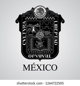 Silhouette of Mexico Coat of Arms. Mexican State. Vector illustration