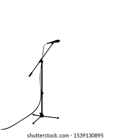 Silhouette microphone music sings. Vector illustration