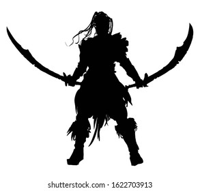 The silhouette of a mighty warrior with two curved swords, long hair fluttering in the wind, standing proudly at the ready with his weapon. 2D illustration.