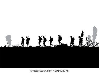 Silhouette of military defeated in war