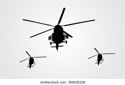 Silhouette of a military helicopter formation vector isolated on white background. Part of strong army weapon. Transportation aircraft for combat.  Chopper in air in evacuation action. Whirlybird.