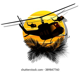 silhouette of military helicopters on a background of sun. abstract vector illustration