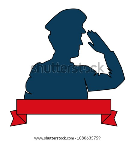 silhouette of military saluting with ribbon
