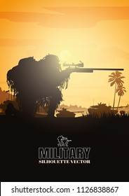 Silhouette of military sniper, Military vector illustration, Army background, soldiers silhouettes.