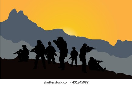 Silhouette of military subdivision with weapons at sunset. shot, holding gun, colorful sky, mountain, background, team