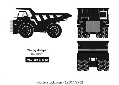 Silhouette of mining dumper on white background. Back, side and front view. Heavy truck image. Industrial 3d drawing of cargo car. Diesel  automobile blueprint. Vector isolated illustration