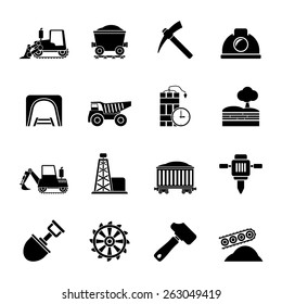 Silhouette Mining and quarrying industry icons - vector icon set