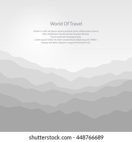 Silhouette of the Misty Mountains at Sunrise and Text, View of the Mountains in the Morning,  Waves in Shades of Gray, Travel and Tourism Concept, Vector Illustration