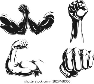 Silhouette mma fighter bodybuilder arm logo isolated vector