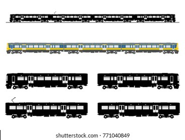 Silhouette of a modern electric train. Side view. Easy to connect elements. Flat vector.