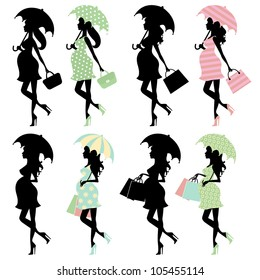Silhouette moms to be under umbrellas