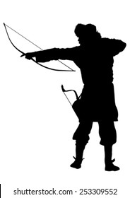 Silhouette of Mongol warrior with a bow on a white background