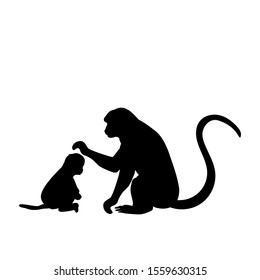 Silhouette of Monkey and young little Monkey. Vector illustrator