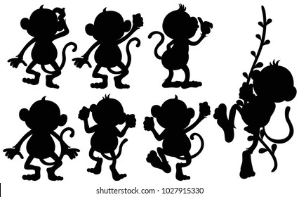 Silhouette monkeys in different positions illustration