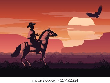 silhouette and monochrome scenery cowboy in Savannah field go back home on sunset time,red color style,vector illustration
