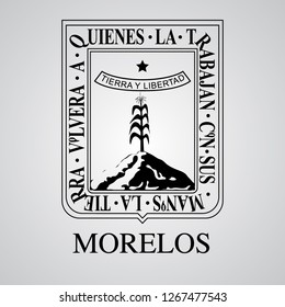 Silhouette of Morelos Coat of Arms. Mexican State. Vector illustration