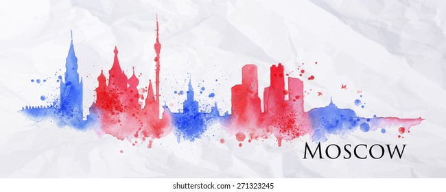 Silhouette Moscow city painted with splashes of watercolor drops streaks landmarks in red with blue tones