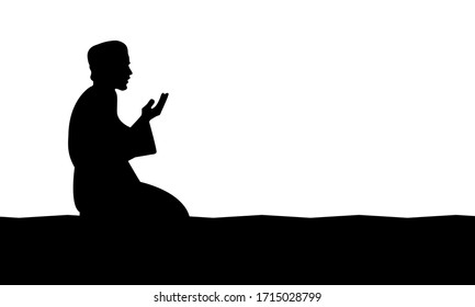 the silhouette of a moslem praying. Vector Illustration