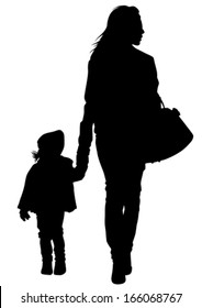 Silhouette of a mother and daughter on the walk.