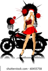silhouette of a motorcycle and a pretty girl in red skirt;