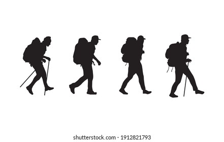 the silhouette of the mountain climbers set, vector isolated on white