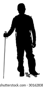 Silhouette of mountain hiker