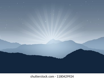 Silhouette of mountains in a night landscape