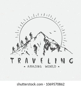 Silhouette of a mountains and traveling people. Climbing on mountain. Vector illustration hiking and climbing team