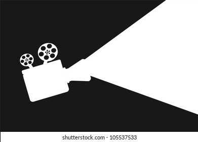 silhouette movie projector with space for copy. vector illustration