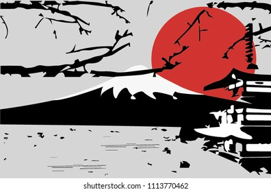The silhouette  Mt.Fuji and Chureito Pagoda cherry blossoms with beautiful sunsets.