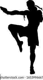 Silhouette of a Muay Thai kickboxer doing a knee strike. Vector illustration.